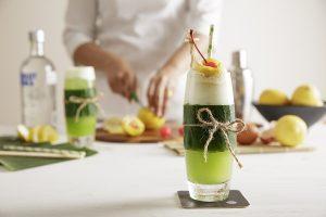 Com-Cocktail-Vodka- Midori-lime juice-vanilla syrup-kiwi juice-egg white