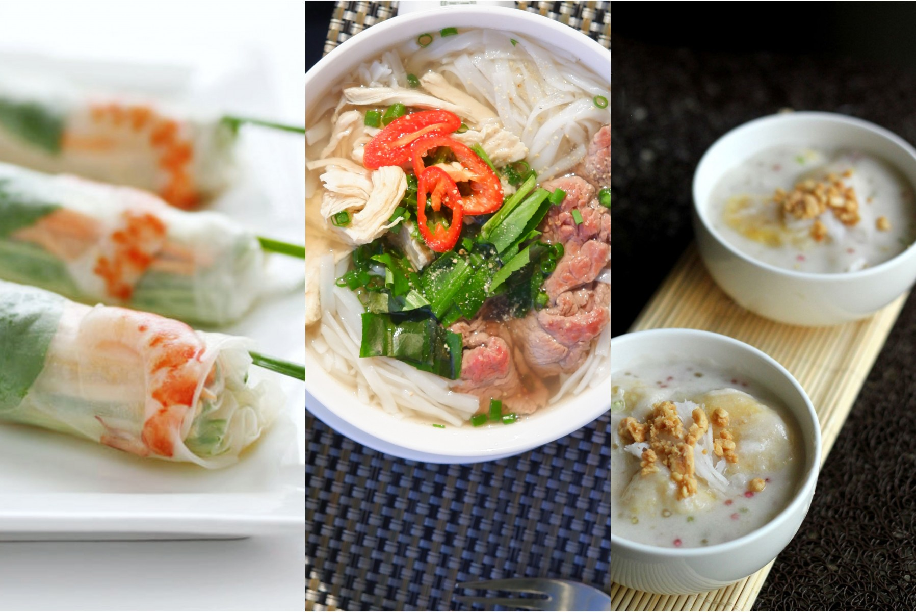 Vietnamese spring rollsaromatic bowl of pho (noodle soup) or fried rice with fresh seafood.